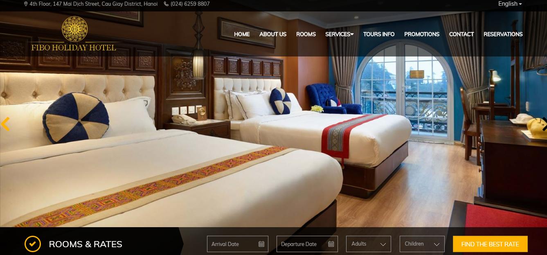 Mẫu website khách sạn FiboHoliday