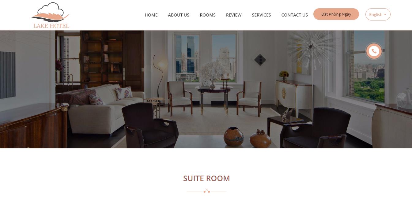 Mẫu website khách sạn Lake Hotel