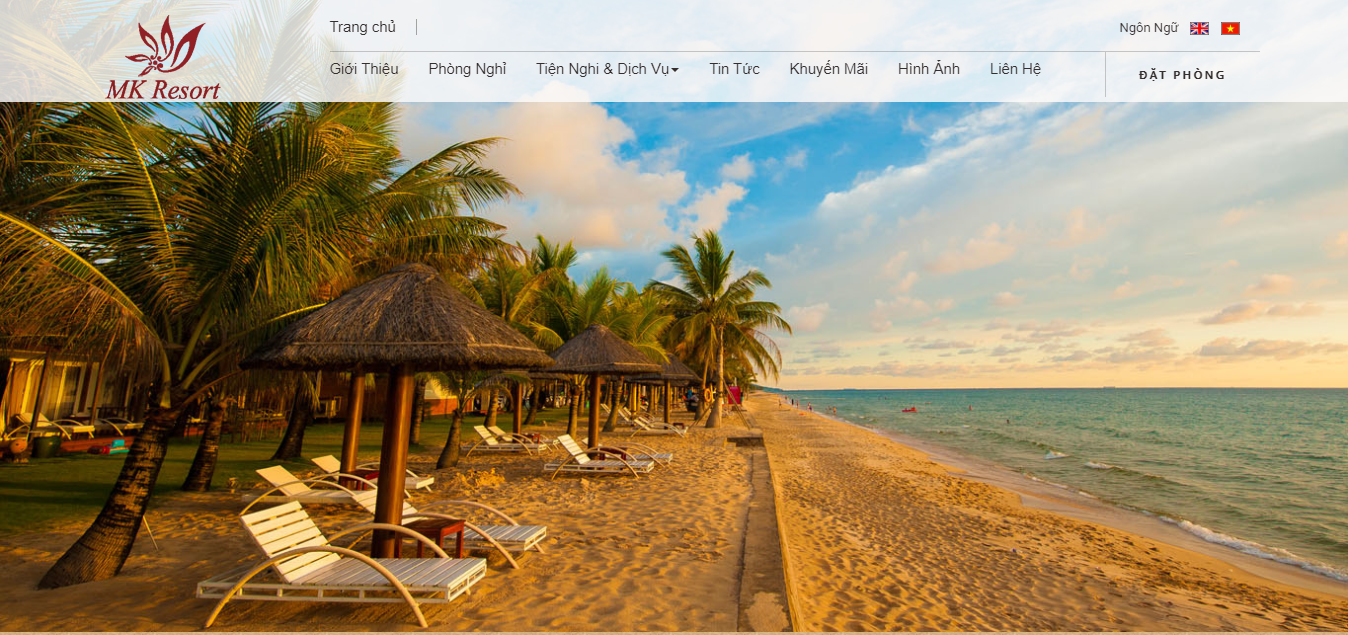 Mẫu website khách sạn Mk Resort