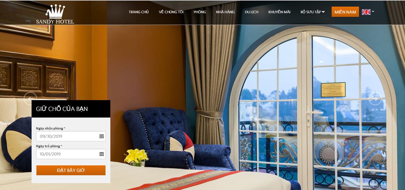 Mẫu website khách sạn SandyHotel