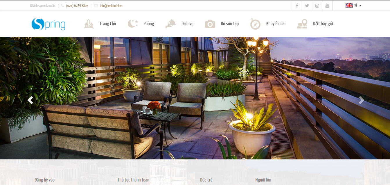 Mẫu website khách sạn Spring Hotel